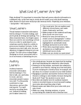 Learning Styles Study Tips Handout