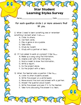 Learning Styles Survey with Star Display Bulletin Board Activity