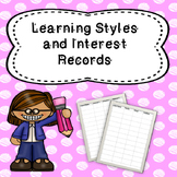 Learning Styles and Interest Survey Sheets; Data Portfolio Inserts