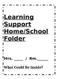 Learning Support Home to School Folder/Binder Cover