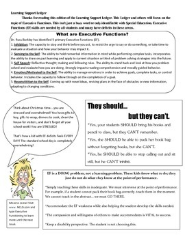 Learning Support Ledger - Newsletter for Teachers - Executive Functions