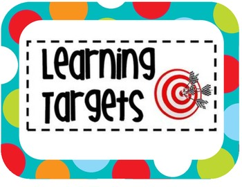Learning Target Display- Colored Polka Dots on Turquoise