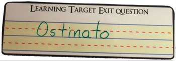 Learning Target Exit Question Card- music