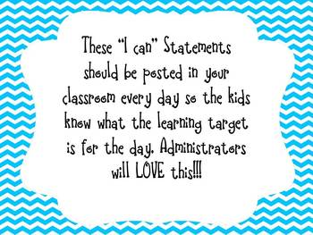 "Blue Chevron Learning Target  ""I can"" Statements for 4th Grade Reading CCSS"