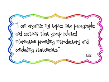 "Learning Target  ""I can"" Statements for 4th Grade Reading CCSS in Rainbow"