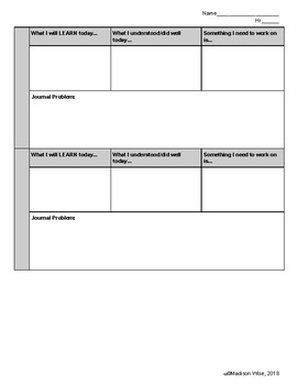 Learning Target/Journal Sheets