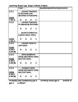 Learning Target Log Stage 1 Book 3 Core Focus on Math