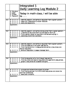 Learning Target Logs Mod 2 Mathematics Vision Project