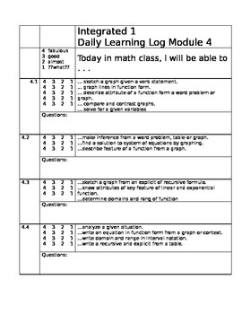 Learning Target Logs Mod 4 Mathematics Vision Project