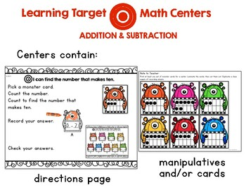 Learning Target Math Centers: Addition and Subtraction