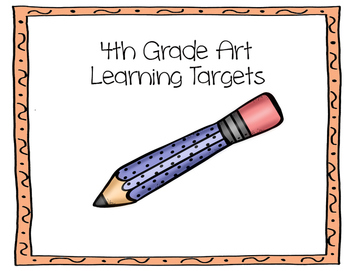 Learning Target Poster Set for 4th Grade Art