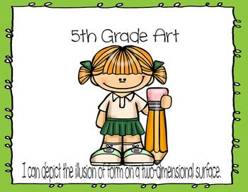 Learning Target Poster Set for 5th Grade Art
