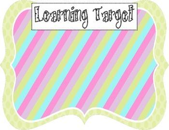 Learning Target Poster (green dot rainbow stripe)