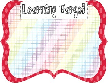 Learning Target Poster (red dot rainbow stripe burlap)