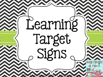 Learning Target Signs - Black & White Chevron