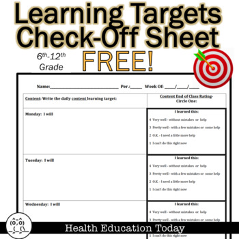 Learning Target Check Off Sheet - FREE!