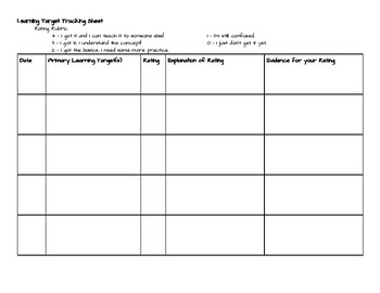 Learning Target Tracking Sheet