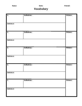 Learning Target & Vocab Sheet