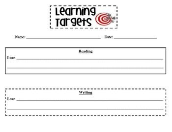 Learning Target Worksheet