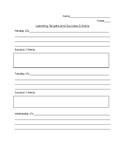 Learning Target recording sheet