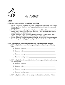 7th Grade Common Core I Can Statements:Africa Middle East