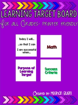 Learning Targets - Printer Friendly