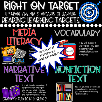 """Learning Targets: 4th Grade Reading """"I Can"""" Statements (Full Page)"""