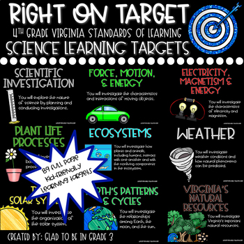 """Learning Targets: 4th Grade Science """"I Can"""" Statements"""