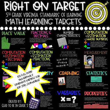 """Learning Targets: 5th Grade Math """"I Can"""" Statements"""