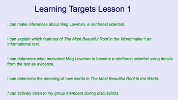 Learning Targets 5th Grade Module 2A Rainforest- Unit 2
