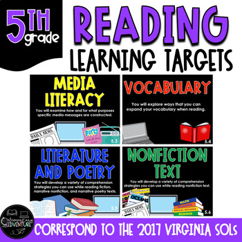 """Learning Targets: 5th Grade Reading """"I Can"""" Statements"""