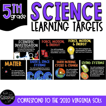 """Learning Targets: 5th Grade Science """"I Can"""" Statements"""