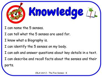 Learning Targets CKLA Knowledge Units 1-8 and 11 Kindergarten