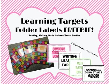 Learning Targets- Folder Labels FREE!