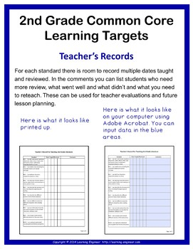 2nd Grade Checklists, 2nd Grade Learning Target Posters, Common Core ELA