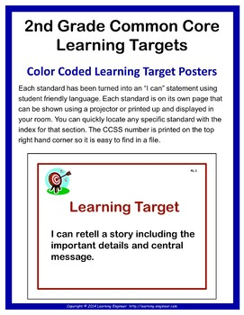 2nd Grade Checklists, Learning Target Posters, Common Core ELA and Math