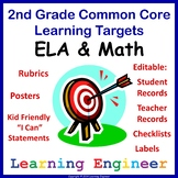 2nd Grade Checklists, 2nd Grade Learning Target Posters, Rubrics and File Labels