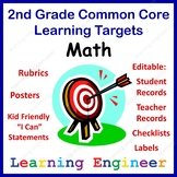 2nd Grade Checklists, Learning Target Posters, Common Core Math
