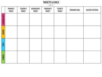 Learning Targets & Goals Planning Sheet