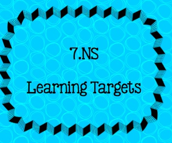Learning Targets (I CAN ) 7th grade The Number System