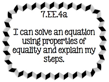Learning Targets (I CAN ) 7th grade Expressions and Equations