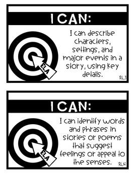 Learning Targets (I Can Statements) ELA First Grade
