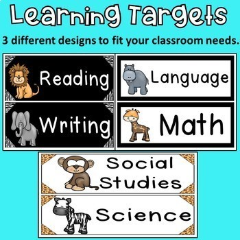 Learning Targets: Jungle Theme