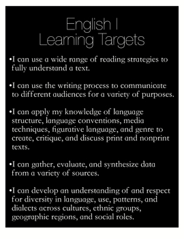 Learning Targets Poster for an English I Class