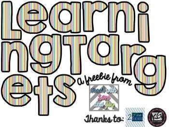 Learning Targets Rainbow Stripe Sign Freebie