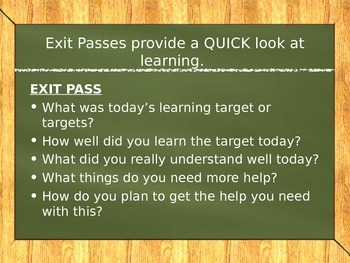 Learning Targets Staff Presentation and Exit Passes
