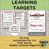 Learning Targets- Student Centered Learning *Back To School*