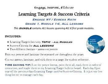 Learning Targets & Success Criteria: Engage NY/Eureka Math 1st Grade MEGA BUNDLE