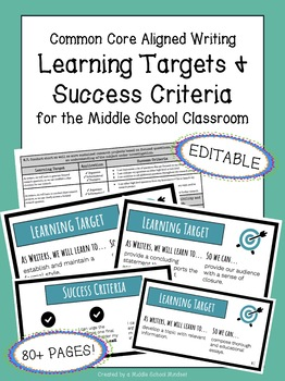 Learning Targets & Success Criteria | Middle School Writing Standards | EDITABLE