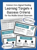 Learning Targets & Success Criteria | Middle School Reading Standards | EDITABLE